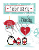February Calendar and Bulletin Board set that pops with print and cut files