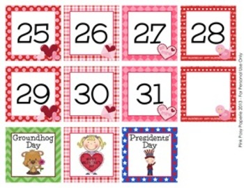 February Calendar Set - Numbers - Days of the Week