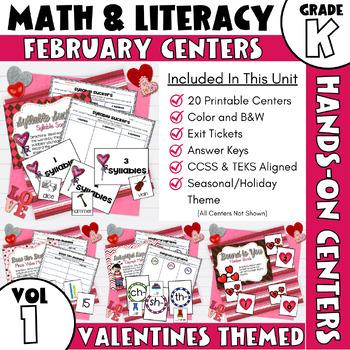 February Centers -- Kindergarten MATH and ELA
