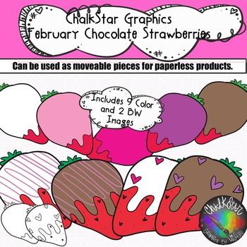 February Chocolate Covered Strawberries Clip Art