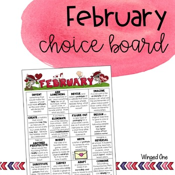 February Early Finishers Choice Board