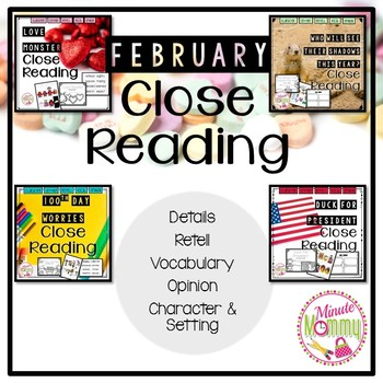 February Close Reading Bundle 4 packs in 1