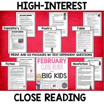 February Close Reads for Big Kids Common Core Aligned Grades 4-6