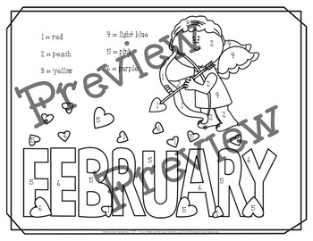 February Color By Numbers Packet! PRINT AND GO!