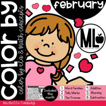 February-COLOR BY- Math and ELA concepts