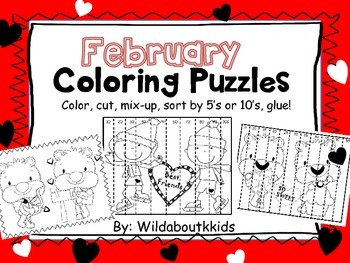 February Coloring Pages and Puzzles (Valentine's Day Theme)
