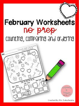 February Count, Compare and Order NO PREP Sheets