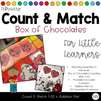 February Count & Match + Addition - Fill the Box of Chocolates