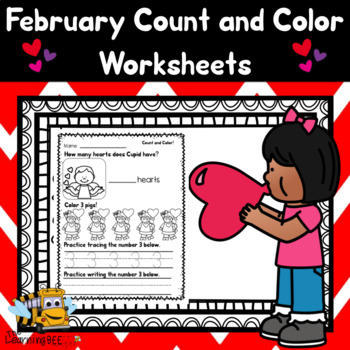 February Count and Color Worksheets