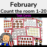 February Math Activity-Count the Room 1-20 Task Cards