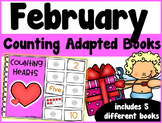 February Counting Adapted Books {set of 5 books) Print and