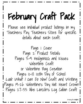 February Craft Pack: Hedgehog Craft, Valentine Crown, Lincoln's Cabin, 100th Day