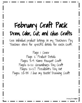 February Craft Pack: Name Bouquet, Groundhog, President's Day Hat, Tooth