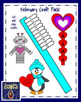 February Craft Pack: Toothbrush, Penguin, Hearts, President Trump, Shape Robot