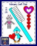 February Craft Pack: Toothbrush, Penguin, Hearts, President Trump, Shape Robot