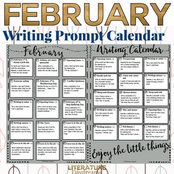 Creative Writing Prompts Calendar February
