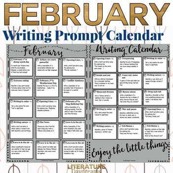 Writing Prompts Calendar February