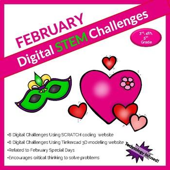 February DIGITAL STEM challenge|coding|Valentine|Mardi Gras|Chinese New Year
