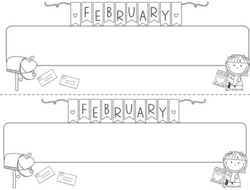 February D'Nealian Doodle Tags - Ink Friendly Editable Desk Name Tags