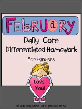 Homework: Kindergarten February Packet (Differentiated Com