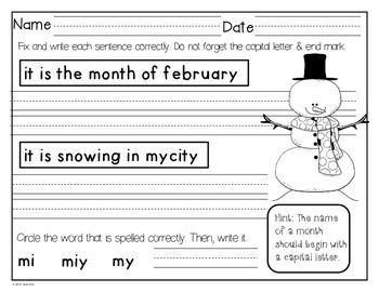 February Daily Language FREEBIE!: Kindergarten & First Grade