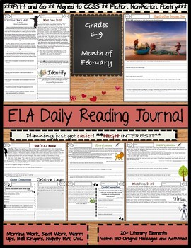 February Daily Morning Work ELA Bell Ringers for Middle School