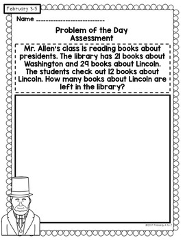 February Daily Word Problems {Second Grade}