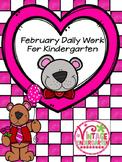 February Daily Work for Kindergarten
