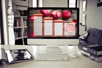 February Desktop Organizer (customizable)