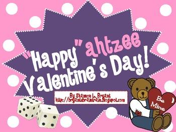 """February Dice Game (""""Happy""""ahtzee Valentine's Day!)"""