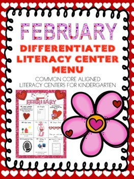 February Differentiated Literacy Center Word Work Menu (Common Core Aligned)