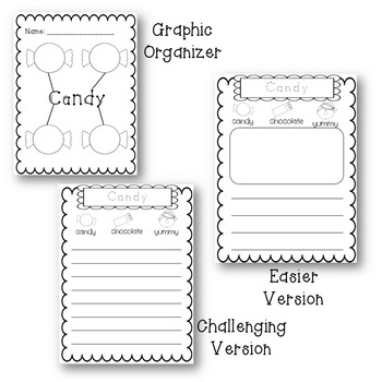 February Differentiated Writing Prompts with Graphic Organizers