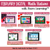 February Digital Math Stations l Task Cards | Boom Cards™