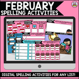 February Digital Spelling Activities for Word Work