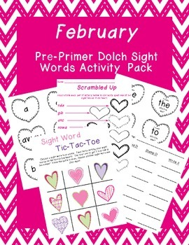 February Dolch Pre-Primer Words Activity Pack