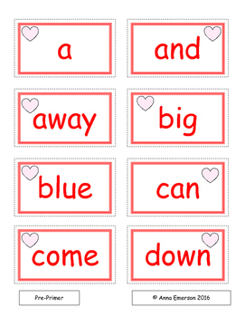 February Dolch Sight Words Flash Cards and Fluency Phrases