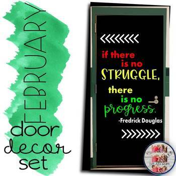 """February Door Decoration Set: """"if there is no struggle..."""" Black History Month"""