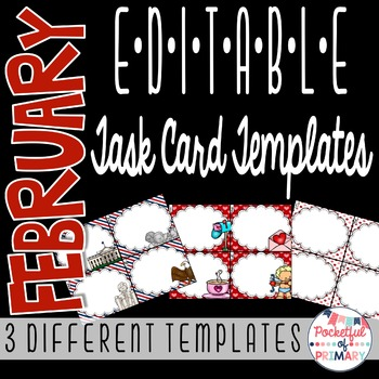 February EDITABLE Task Card TEMPLATES