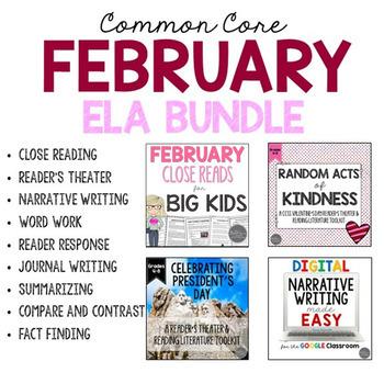 February ELA Bundle Common Core Aligned for Grades 4-6