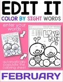 February Edit It Color By Sight Word - Editable Printables