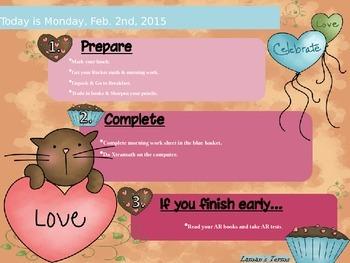 February Editable Morning Routine Displays Valentine's President's & Groundhog's