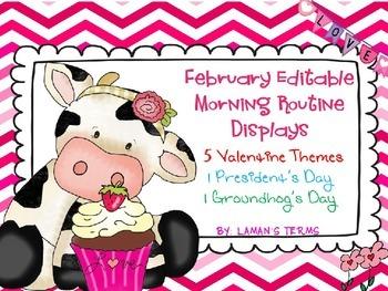 February Editable Morning Routine Displays Valentine's Pre