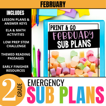 February Emergency Sub Plans for 2nd grade: Ready-to-go Activities & lessons