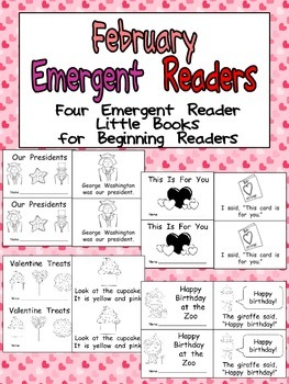 February Emergent Readers - A Book for Each Week- Valentine's Day, Presidents