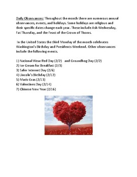 February - Everything about February - facts information holidays events lesson