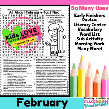 February Activity: February Word Search (non-fiction, reading facts)