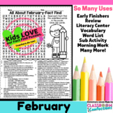 February Activity: February Word Search (non-fiction, read