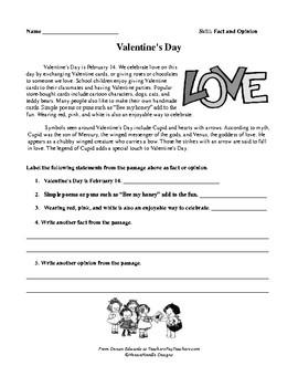 February Fact Opinion Reproducibles Washington Lincoln Valentine's Day
