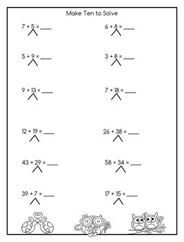 Addition and Subtraction Math Facts Worksheets: February