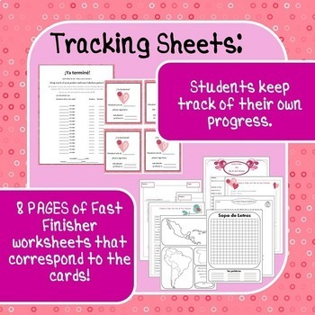 Spanish Fast Finishers, February! 21 Task Cards, Activities